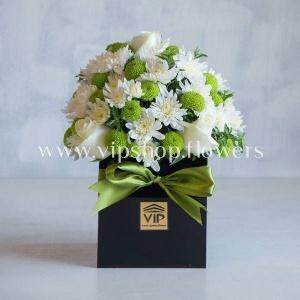جعبه گل رز و داوودی- گلفروشی آنلاین VIP Shop