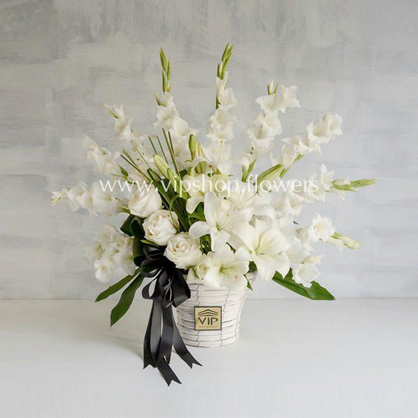 سبد گل ترحیم رز گلایل لیلیوم- گلفروشی آنلاین VIP Shop