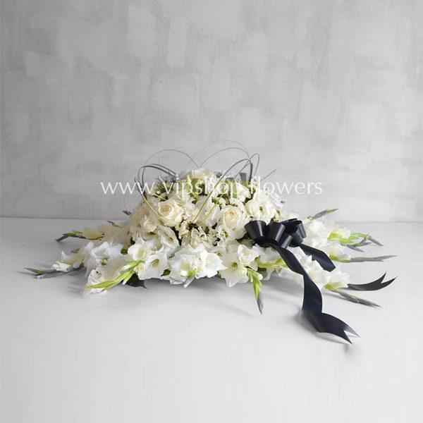 گل رومیزی ترحیم و تسلیت رز گلایل- گلفروشی آنلاین VIP Shop