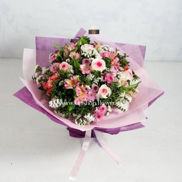 دسته گل ارزان رز داوودی و آلسترومریا- گلفروشی آنلاین VIP Shop