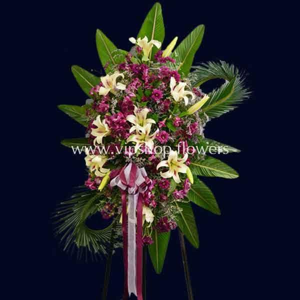تاج گل پایه دار یک طبقه تبریک لیلیوم داوودی- گلفروشی آنلاین VIP Shop