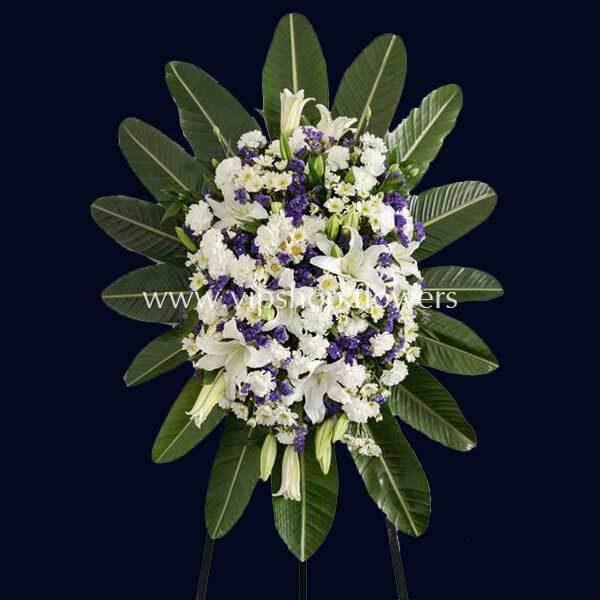 تاج گل زیبای پایه دار یک طبقه تبریک- گلفروشی آنلاین VIP Shop