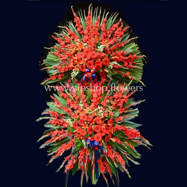 تاج گل پایه دار دو طبقه تبریک قرمز- گلفروشی آنلاین VIP Shop