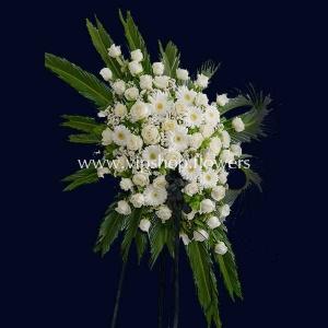 تاج گل پایه دار یک طبقه ترحیم- گلفروشی آنلاین VIP Shop