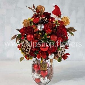 جعبه گل شیشیه ای کریسمس رز داوودی-جعبه گل شیشه ای کریسمس شماره 5- گلفروشی آنلاین VIP Shop