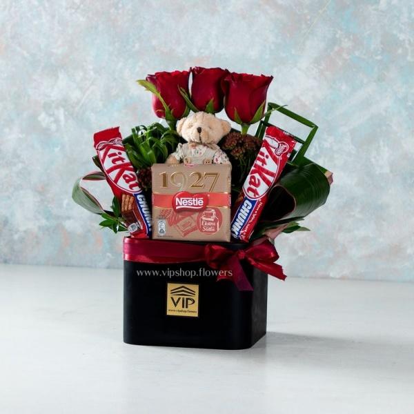 باکس گل و شکلات لاکچری- گلفروشی آنلاین VIP Shop