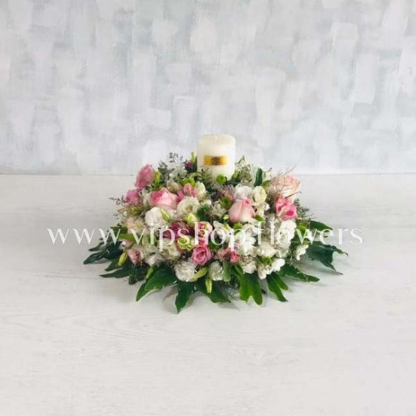 گل رومیزی گرد شمع دار-عکس گل