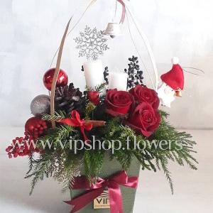 جعبه گل لاکچری کریسمس- گلفروشی آنلاین VIP Shop