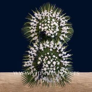 تاج گل پایه دار دو طبقه تسلیت و ترحیم- گلفروشی آنلاین VIP Shop