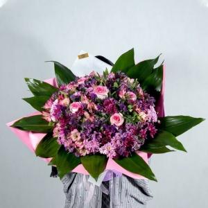 دسته گل رز داوودی و آلسترومریا- گلفروشی آنلاین VIP Shop
