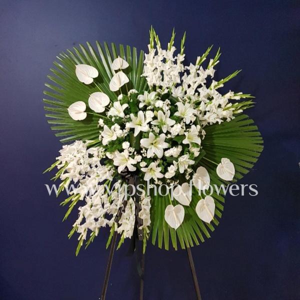 تاج گل پایه دار یک طبقه ترحیم لیلیوم گلایل- گلفروشی آنلاین VIP Shop