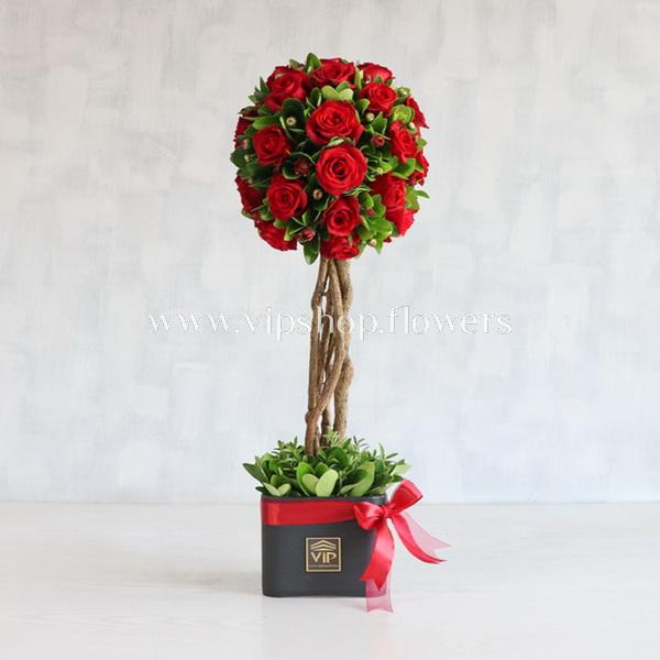 جعبه گل رز قرمز - VIP SHop