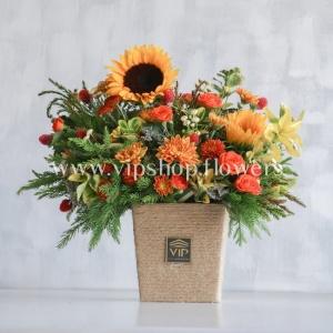 جعبه گل شماره 114- خرید گل آفتابگردان