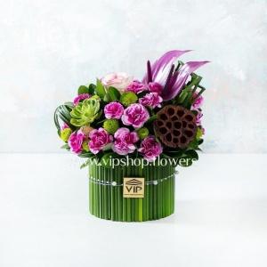 جعبه گل فانتزی نخل مرداب- گلفروشی آنلاین VIP Shop