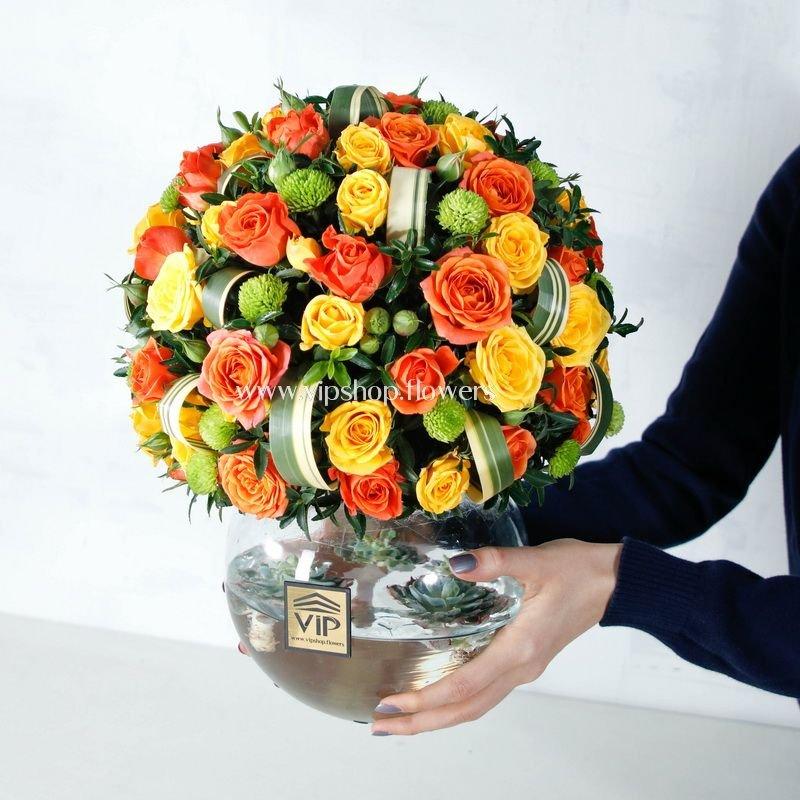 جعبهب گل شیشه ای رز مینیاتوری- گلفروشی آنلاین VIP Shop