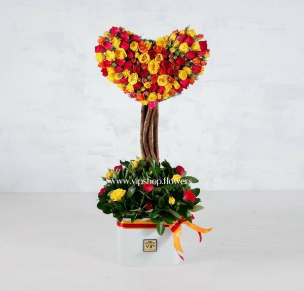 گل رز قلب درختی - باکس گل رز مینیاتوری