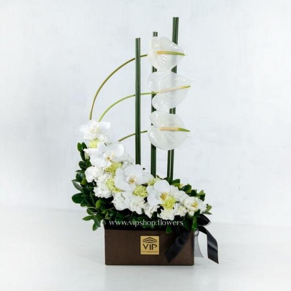 جعبه گل ترحیم ارکیده سفید- گلفروشی آنلاین VIP Shop