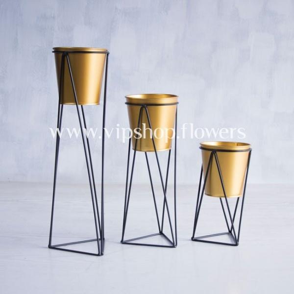 گلدان طلایی مدل 1007 پایه مشکی (ست 3تایی)
