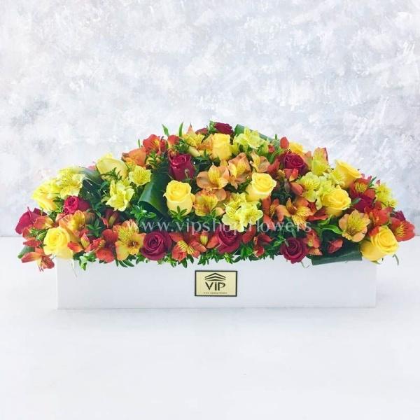 جعبه گل رز زرد- گلفروشی آنلاین VIP Shop