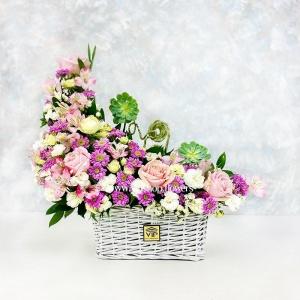 خرید سبد گل رز داوودی و میخک- گلفروشی آنلاینVIP Shop