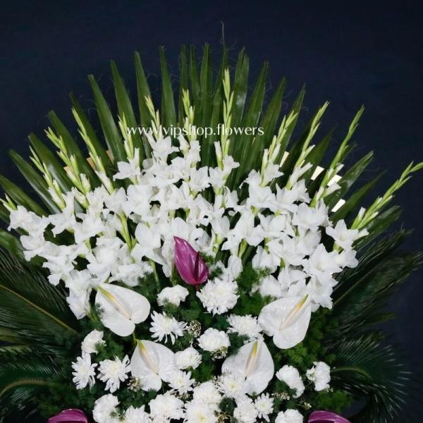 تاج گل ترحیم یک طبقه ارزان- گلفروشی آنلاین VIP Shop