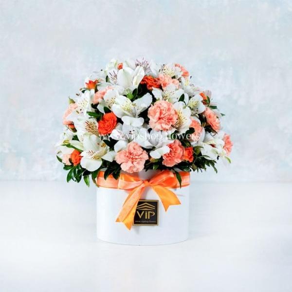 جعبه گل میخک و آلسترومریا- گلفروشی آنلاین VIP Shop