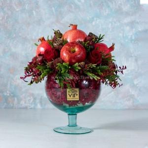 جعبه گل شیشه ای شب یلدا- گلفروشی آنلاین VIP Shop