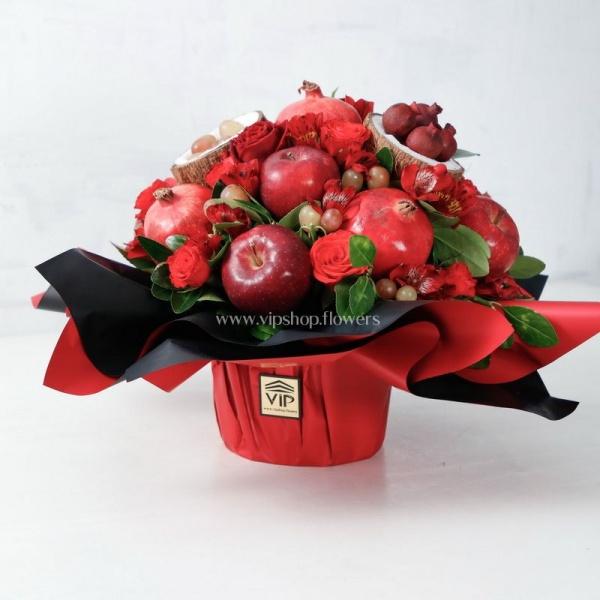 دسته گل و میوه سیب انار و نارگیل- گلفروشی آنلاین VIP Shopa