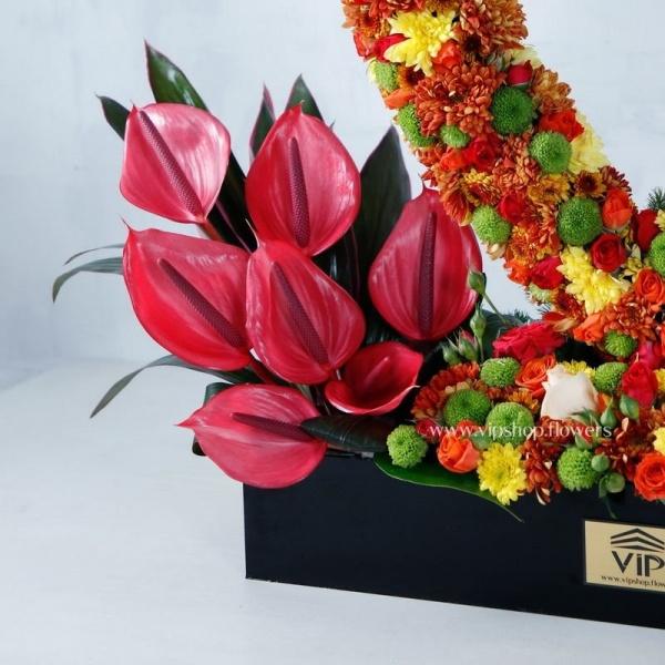 جعبه گل قلبی با تم رنگی پاییزی-گلفروشی آنلاین VIP Shop