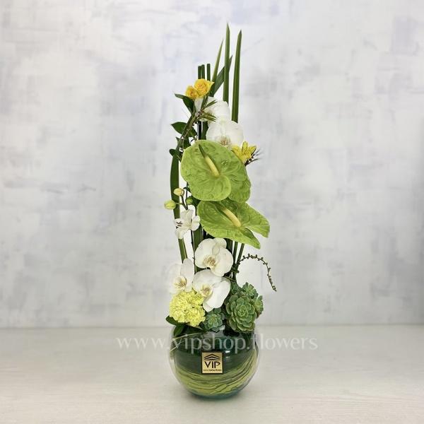 باکس گل شیشه ای فانتزی ارکیده- گلفروشی آنلاین VIP Shop