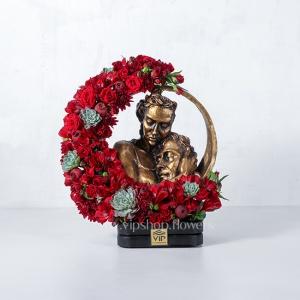 گل و مجسمه لاکچری با تم رنگی قرمز- گلفروشی آنلاین VIP Shop