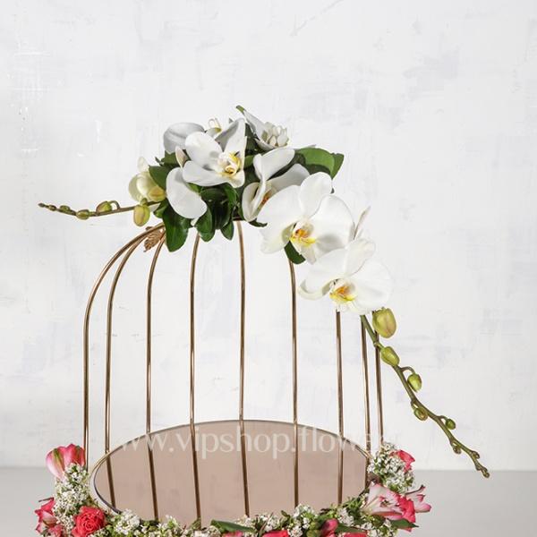 قفس گل طلایی دو طبقه رز ارکیده-گلفروشی آنلاین VIP Shop