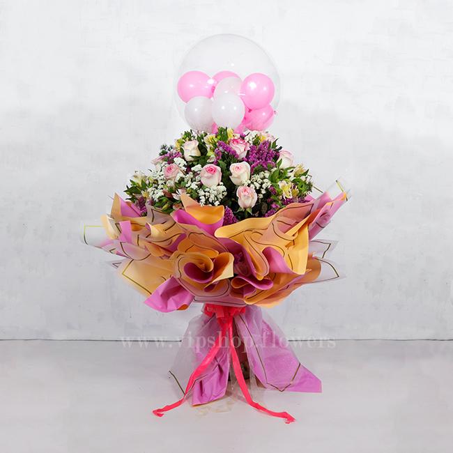 دسته گل بزرگ رز با تم صورتی - گلفروشی آنلاین VIP Shop