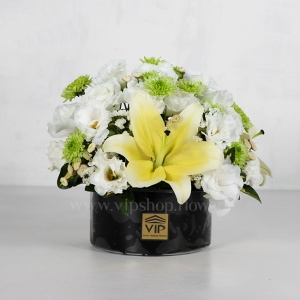 باکس گل شیشه ای ترحیم لیلیوم - گلفروشی آنلاین VIP Shop