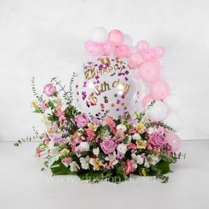 جعبه گل تولد رز آلسترومریا همراه با بادکنک - گلفروشی آنلاین VIP Shop