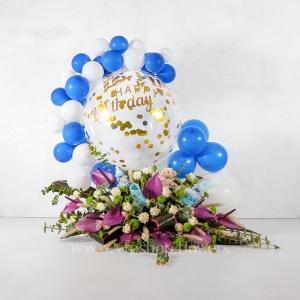 باکس گل تولد رز آنتوریوم همراه با بادکنک - گلفروشی آنلاین VIP Shop